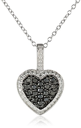 603d054dc47 Galleon - Sterling Silver And Black Diamond Heart Pendant Necklace (1 2 Cttw)