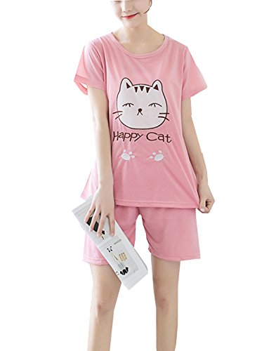 Lovely Pink Happy Cat Girls Short Pajamas Set For Young/Big Girl/Junior/Teenage Sleepwear(6y-16y)