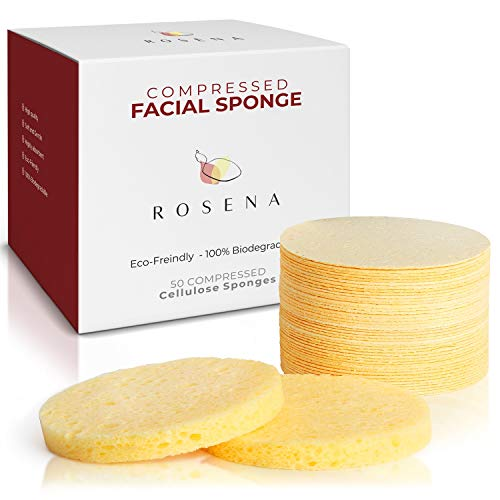 Facial Sponges - 50 Count Compressed Cellulose Face Cleansing and Exfoliating Sponges, Reusable Makeup Mask Remover, Round Face Cleaning Sponge Pads