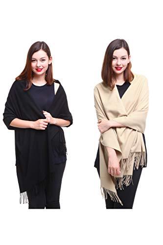 (REEMONDE Large Extra Soft Cashmere Blend Women Pashmina Shawl Wrap Stole Scarf (2 Pack - Black & Khaki))