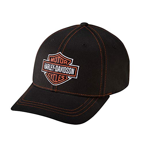 Harley-Davidson Official Men's Contrast Stitch Logo Stretch Cap, Black (Large)