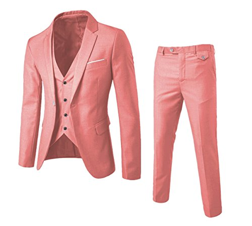 One Button Single Breasted Suit - MAGE MALE Men's 3 Pieces Suit Elegant Solid One Button Slim Fit Single Breasted Party Blazer Vest Pants Set (S, Pink)