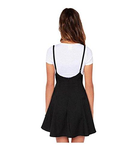 Rcool Frauen Mode schwarzen Rock mit Schulterriemen plissiert Mini Kleid  Schwarz XXL