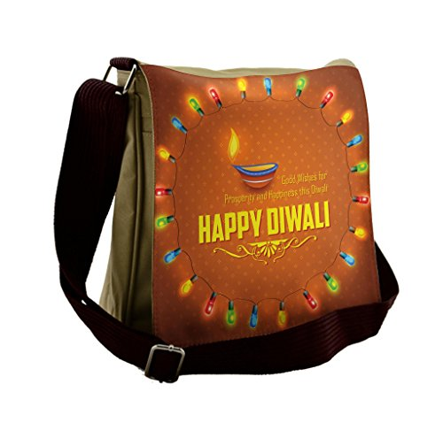 Lunarable Diwali Messenger Bag, Traditional Motif Pattern, Unisex Cross-body by Lunarable
