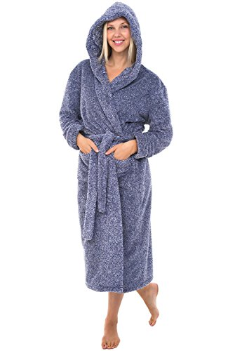 Alexander Del Rossa Womens Fleece Robe, Long Plush Hooded Bathrobe, Small Medium Two Tone Blue - Womens Microfleece Bathrobe