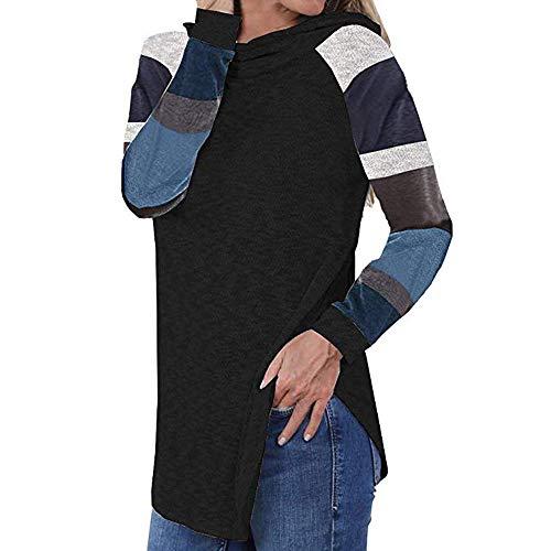 ANJUNIE Womens Fall Tops Stripe Tunic Shirts Pullover Long Sleeve Sweatshirt Blouse Sweater(Black,XL) -