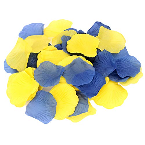 (ALLHEARTDESIRES 600 Pack Yellow Royal Blue Party Decorative Flower Rose Petals for Wedding Confetti Minion Birthday Aisle Runner Flower Girl Basket Baby Shower Grad Graduation Decoration)
