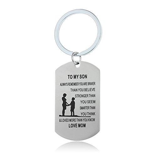 Always Remember You are Braver Than You Believe Jewelry Keychain Keyring Gift for Son Daughter (Mother to Son)