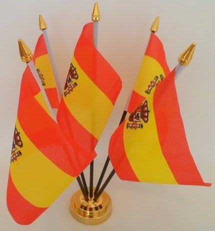 España Estado español bandera de 5 mesa de sobremesa con pantalla dorado Base: Amazon.es: Hogar