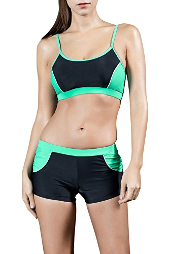 [Dolamen Women's Two Pieces Sport Swimming Costumes Swimwear with Shorts Swimsuit (US6, Green)] (Do It Yourself Costumes 2016)