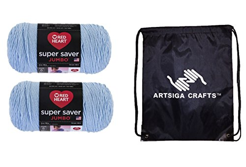 Red Heart Super Saver Jumbo Knitting Yarn Light Blue 2-Skein Factory Pack (Same Dyelot) E302C-0381 Bundle with 1 Artsiga Crafts Project Bag