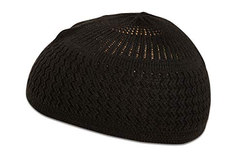 Candid Signature Apparel Zigzag Threaded Skull Cap Chemo Kufi Beanie Hats for Men Women (Black ()