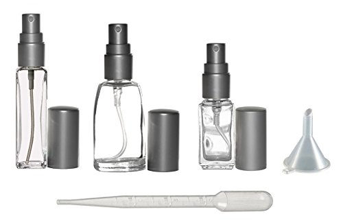 Riverrun Variety Set Small Travel Perfume Atomizers Glass Bottles Matte Silver Sprayer 3 sizes: 1/6 oz, 1/4 oz, 1/3 oz (5ml, 7.5ml, 10ml) ()