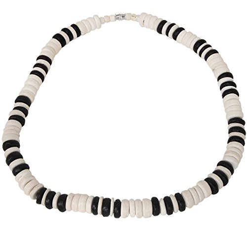 Tribal Hollywood Pukoa White and Black Coconut Shell Hawaiian Mens Bead Choker -