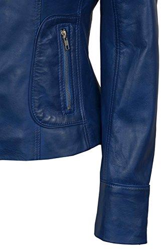 Jacket 9823 Bleu Style Nappa Soft Réel Motorcycle Délavé Mesdames Leather Motard Biker 11wrP6q