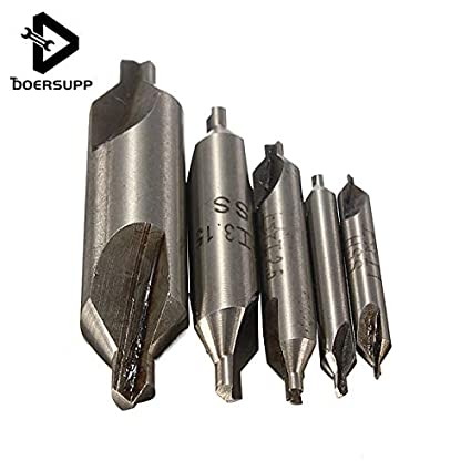 5pcs 60° HSS Center Spotting Drill Bits Combined Countersink Bits Set DIY Tool