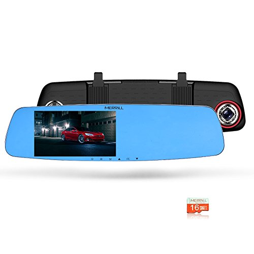 "MERRILL Rear View Mirror Dash Cam 5.0"" 170 Wide Angle 1080P with Parking Monitor, G-sensor, 16G SD Card"