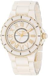 a_line Women's AL-20040-BEBEYR Marina Silver Textured Dial Beige Ceramic Watch