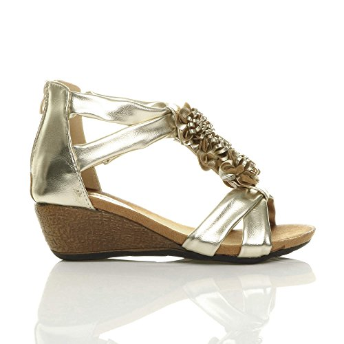 T Size Sandals Women Ajvani Bar Gold Heel Mid 1atwYf