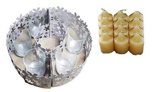 ShoppeShare Indoor/Outdoor Blossom Tabletop Umbrella Centerpiece Votive Holder and Candle Bundle - Retired PartyLite