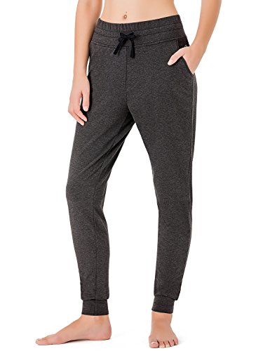 NAVISKIN Women's Yoga Running Pants Outdoor Lounge Sweat Pants Side Pockets Grey Size M (Ribbed Two Button Jersey)