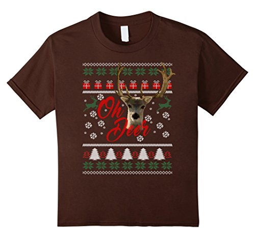 Kids Deer Hunter's Ugly Christmas Sweater Costume Holiday T-shirt 6 Brown (Hunter And Deer Costume)
