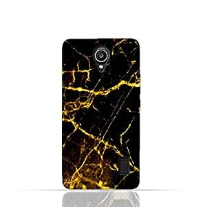 Huawei Y635 TPU Silicone Case With Dark And Gold Mesh Marble Pattern Design.