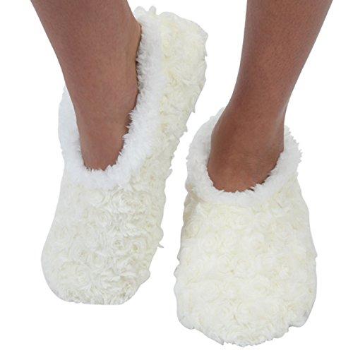 Snoozies Womens Bed Of Roses Cozy Sherpa Fleece Non Skid Slipper Socks - Ivory, Medium