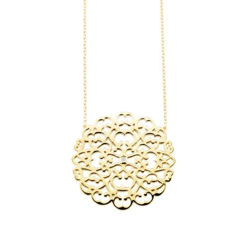 Collier moyen modèle Dentelle en vermeil jaune et diamant - Parure Paris