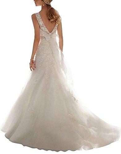 Hochzeitskleider Damen SpitzeAppliques Meerjungfrau Perlen illusion Elfenbein Changjie Neckline Kristall Brautkleid vPxwfwq6