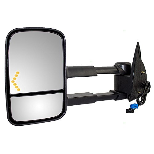 Drivers Power Tow Telescopic Side View Mirror Heated Signal On Glass Replacement for Cadillac Chevy GMC Pickup Truck GM1320355 AutoAndArt