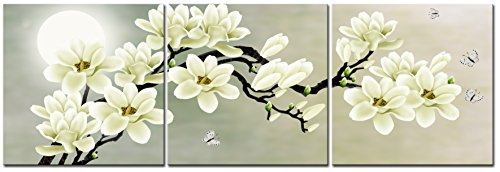 natural-art-white-magnolia-butterfly-under-the-moon-modern-giclee-canvas-prints-paintings-to-photo-p