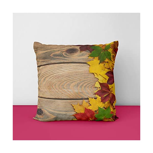 Wooden Art Square Design Printed Cushion Cover