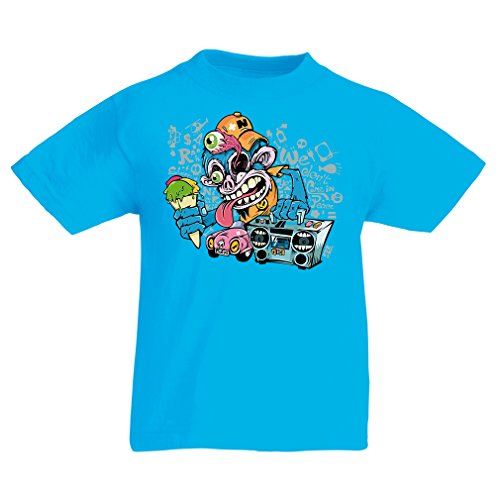 Kids Boys/Girls T-Shirt The Funky Monkey DJ - 80s 1980s Retro Vintage Music Deck Cassette Player (12-13 Years Light Blue Multi - 1980s Fashion Wiki