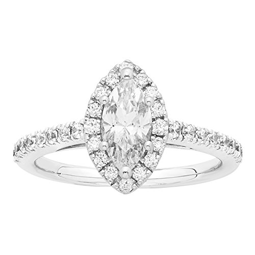 14K White Gold .84 Ctw. Marquise and Round Cut Diamond Engagement Ring (VS2-SI1) by Boston Bay Diamonds