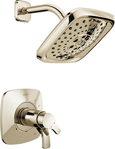 Delta Faucet Tesla 17 Series Dual-Function Shower Trim Kit with Three-Spray Touch-Clean H2Okinetic Shower Head, Polished Nickel T17252-PN (Valve Not Included)