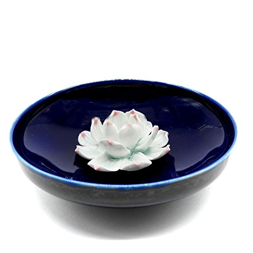 TRENDBOX Ceramic Handmade Artistic Incense Holder Burner Stick Coil Lotus Ash Catcher Buddhist Water Lily Plate - One Hole Round Blue