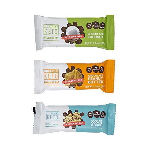 New! Kiss My Keto Snacks Keto Bars - Keto Chocolate Variety Pack (12) Nutritional Keto Food Bars, Paleo, Low Carb/Glycemic Keto Friendly Foods, Natural On-The-Go Snacks, Quality Fat Bars 3g Net Carbs