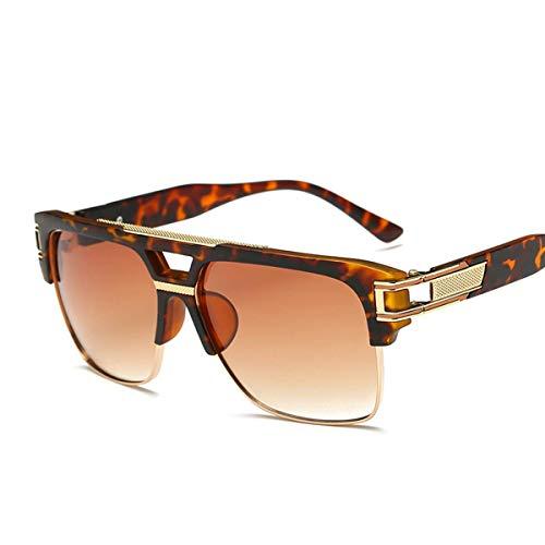 Semi Rimless Sunglasses for Men Gold Square Frame with Gradient Lens Classic Aviator Goggle Retro Brand Designer (Aviator For Sale)