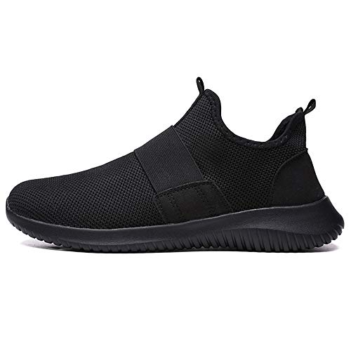 JSPOYOU Men's Breathable Running Shoe Casual Shoes Sports Shoes Black