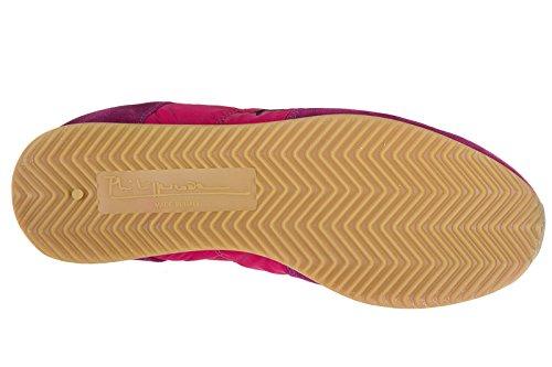 Philippe Model chaussures baskets sneakers femme en daim tropez neon fuxia