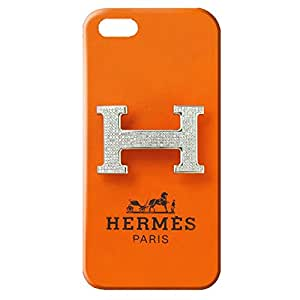 Custom Design Iphone 5/5S Hermes Paris Logo like Leather Phone case Customized for 3d popular design hard cover case_orange