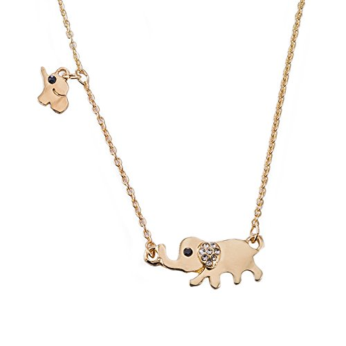 Elephant Necklace 18k Gold Plated Stainless Steel Elephant Mama Chasing Baby Necklace (Mommy Jewelry)