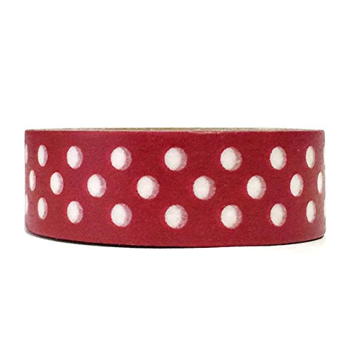 Allydrew Decorative Washi Masking Tape, Dark Red Dots