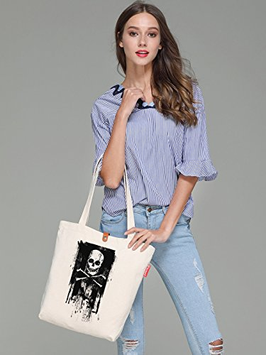 So'each Women's Skull Art Painting Graphic Top Handle Canvas Tote Shoulder Bag