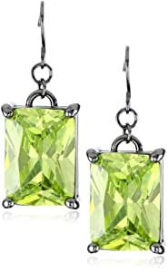 "nOir Jewelry ""Classic Cubic Zirconia"" Green Rectangle Stone Statement Earrings"