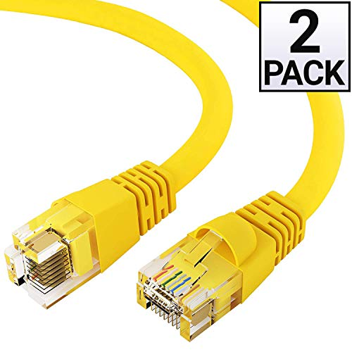GOWOS Cat6 Ethernet Cable (2 Pack - 75 Feet) Yellow - 24AWG Network Cable with Gold Plated RJ45 Snagless/Molded/Booted Connector - 10 Gigabit/Sec High Speed LAN Internet/Patch Cable - ETL Listed (Fate Leather Jacket)