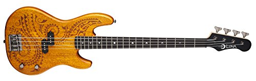 Long Scale Electric Bass (Luna TAT34 Tattoo Etched Mahogany Body Long Scale Electric Bass Guitar, Rosewood Fretboard,)