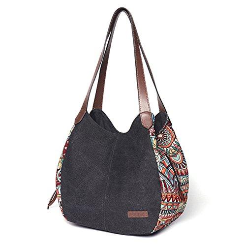Sac à bandoulière pour les femmes, Bernice Bohemia Sacs portés épaule, grande capacité toile Floral sac à main Totes sacs à main Noir