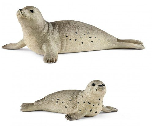 Schleich Sealife Wildlife Arctic Seal Family Set of Two Parent and Cub 14801 and 14802 Bagged Together Ready to Give! Wild Life!